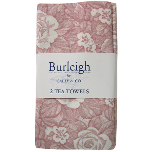 Burleigh Pink Victorian Chintz Tea Towel, Pack of Two