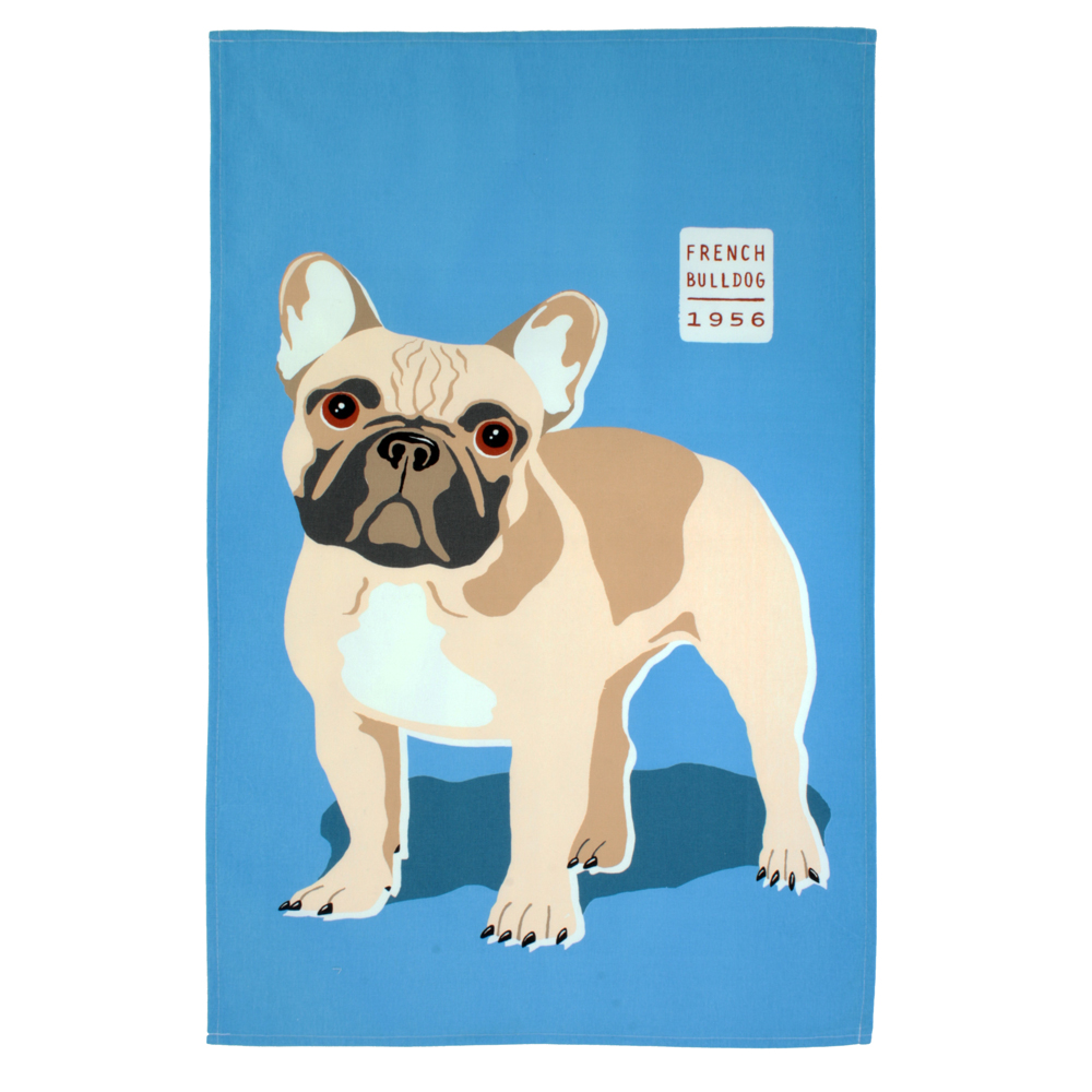 Cotton Tea Towel - Wiscombe Cedric The Bulldog