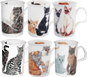 Cats Galore, Set of 6 Animal Bone China Coffee Mug