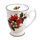 Poinsettia & Pine Christmas Mug with Red Trim