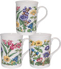 Alpine Floral - Set of 3 Bone China Mugs
