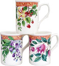 Trailing Blossoms - Set of 3 Bone China Mugs
