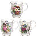 Balmoral - Set of 3 Bone China Mugs with Gold Trim