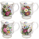 Balmoral - Set of 4 Bone China Mugs w/ Gold Trim