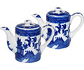 Blue Willow Ware Teapot Shaped Salt and Pepper Set