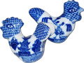 Blue Willow Ware - Rooster and Hen Shaped 1.5 D Door Knob - Set of 2