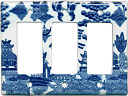 Blue Willow Ware Electric Cover Plate - 3-Switch