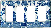 Blue Willow Ware Electric Cover Plate - 4-Switch