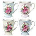 Royal Rose Emblem, Set of 4 Bone China Mugs