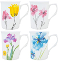 Assorted Watercolor Floral Set of 4 Trumpet Mugs