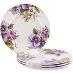 Pansy Dessert Plates, Set of Four, 7.5D