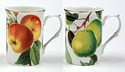 Apple and Pear on Branches - Set of Two Bone China Mugs