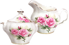 Rose Bouquet Cream & Sugar Set