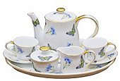Little Girl's Tea Set - Blue Butterly 10 Piece Tea Set