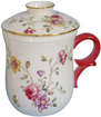 Tea Mug with Cover, Strainer and Saucer, Petite Flower and Butterfly