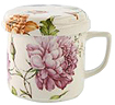 Tea Mug with Cover and Strainer, Dahlia & Bluebell Floral