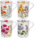 Botanical Floral Bone China Mugs - Set of 4