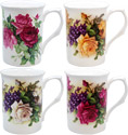 Classic English Rose Mug - Set of 4