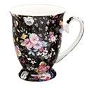 Old Garden Variety Chintz Bone China Mug - Black