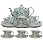 Blue Rose Chintz Tea Set - Gracie Bone China