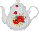 Poppy Flower Teapot, 4-Cup