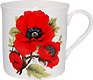 Red Poppy Short and Sturdy Bone China Mug