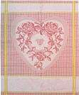 French Jacquard Kitchen/Tea Towel - Red Hearts