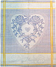 French Jacquard Kitchen/Tea Towel - Blue Hearts