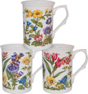 Alpine Floral Bone China Mugs - Set of 3