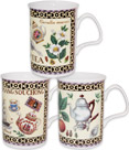 Fancy Tea Fine Bone China Mugs - Set of 3