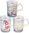 Sailboats Fine Bone China Mugs - Set of 3