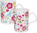 English Bouquet Bone China Mugs - Set of 2