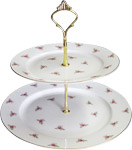 2-Tier Cake Stand, Dot Rose
