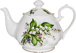 Lily of the Valley Fluted Teapot, 6 Cups