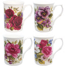 English Summer Floral Mug, Set of 4
