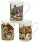English Cottage Mugs, Set of 3