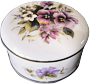 Bone China Trinket Box, 3-1/2 D Pansy