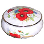 Bone China Trinket Box, 2-1/2 D, Red Poppy