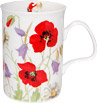Classic Poppy Flowers Bone China Mug - Red