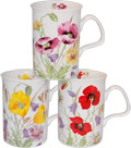 English Meadow Poppy Field Mugs, Set of Three