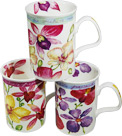 Orchid Flowers - Assorted Set of 3 Fine Bone China Mugs