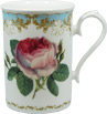 Vintage Rose China Mug with Blue Border