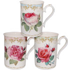 Vintage Rose - Set of 3 Assorted Mugs