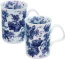 English Chintz in Blue, Set of 2 Rose China Mugs