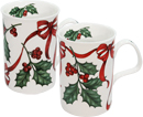 Christmas Ribbon, Set of 2 Tea Mugs