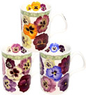 Set of 3 Pansy Fine China Mugs