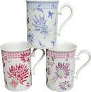 Set of 3 Lavender Fine China Mugs