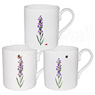 Set of 3 Lyric Lavender Coffee Mugs