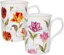 Rose of England Bone China Mugs - Set of 2, Tulips
