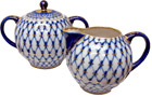 Cobalt Net Creamer and Lidded Sugar Bowl